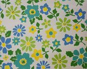 1970's Vintage Wallpaper Blue Yellow and Green Floral.