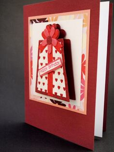 Birthday Card, Happy Birthday, red, flower, present, red, pink