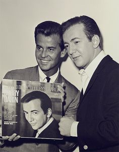 samweed:  Dick Clark and Bobby Darin backstage of American Bandstand (c. 1964)