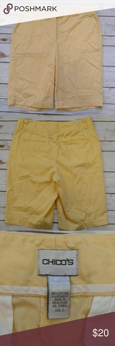 Chico's Yellow Chino Bermuda Shorts Chico's Yellow Chino Bermuda Shorts  Size 2 (12) in good used condition. Please let me know if you have any questions. I ship the same day as long as the post office is still open. Have a great day, thanks for checking out my closet and happy poshing! Chico's Shorts Bermudas