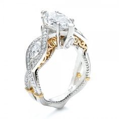 18K White Gold Plated Marquise Cut Cubic Zirconia Engagement Ring Two-Tone. Starting at $25