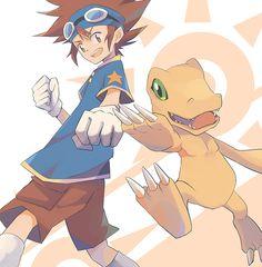 Tai and Agumon in Digimon Adventure 1