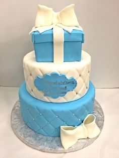 Seven Small But Important Things To Observe In Tiffany Themed Wedding Cakes - tiffany themed wedding cakes Tiffany Cupcakes, Pink Cake Box, Cherry Blossom Cake, Satin Ice Fondant, Edible Favors, Tiffany Wedding, Themed Wedding Cakes, Shower Cake, Cake Designs
