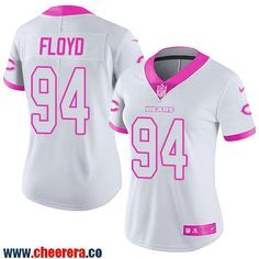 """dae88817f ... Mens Stitched NFL Datone Jones Jersey. """" Womens Chicago Bears 94  Leonard Floyd White Pink 2016 Color Rush Fashion NFL Nike Limited ..."""