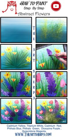 How to paint abstract Flowers Acrylic on Canvas step by step, free video lesson and traceable. This is perfect for your home painting party. Are YOU ready to Enjoy this Beginners step by step how to paint in this full acrylic art lesson! Image is property of The Art Sherpa and intended for the Students Personal education and Enjoyment. For questions regarding using any Art Sherpa painting in a commercial setting labs@theartsherpa.com Easy Flower Painting, Acrylic Painting Flowers, Simple Acrylic Paintings, Abstract Flowers, Acrylic Canvas, Canvas Painting Tutorials, Easy Canvas Painting, Diy Canvas Art, Painting & Drawing