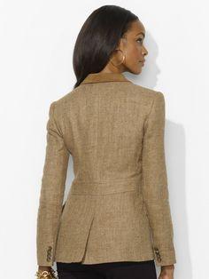 Suede-Trim Herringbone Blazer - Jackets  Women - RalphLauren.com