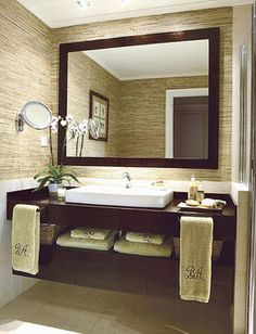 This is it. The guest bathroom vanity I want, with backlit mirror, textured walls