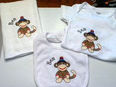Sock Monkey Embroidered Bib Burp Cloth and by mishacoledesigns, $35.00