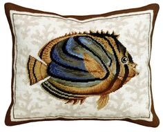 Striped Tropical Fish Needlepoint Pillow
