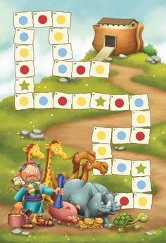 This printable board game of Noah and the Ark is a fun learning opportunity, with quiz questions that need to be answered in order to move ahead. Sunday School Activities, Bible Activities, Activities For Kids, Ark Craft, Jesus Cartoon, Jesus Is Life, Printable Board Games, Bible Illustrations, Board Games For Kids