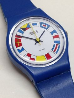 Vintage Ladies Swatch Watch 12 Flags LS101 1984 by ThatIsSoFunny