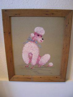 Vintage Pink Poodle Painting by Helen De Tar California 50s Decor, Vibrant Colors, Colours, Thick Cardboard, Pink Poodle, Standard Poodles, Pink Houses, Brown Paper, Vintage Ephemera