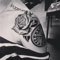 Rose  compass tattoo, Roman numeral -- Jan/2013 #tattoos #ink #romamnumeral