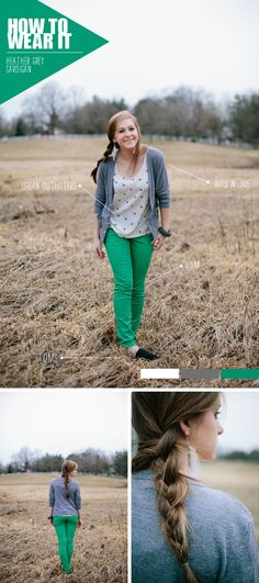Gray Cardigan. Green pants.
