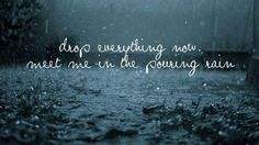 drop everything now, meet me in the pouring rain