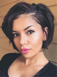Ericdress Short Wave Layered Loose Synthetic Hair Lace Front Cap Wigs 8 Inches - My list of the most beautiful women's hair styles Short Hairstyles For Women, Wig Hairstyles, Straight Hairstyles, Hairstyle Hacks, Hairstyles 2018, Party Hairstyle, Bob Hairstyles For Thick, Evening Hairstyles, New Hair