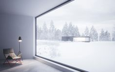Interior design of Square House with View over Hexagon Twin
