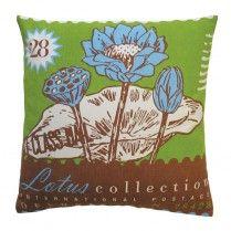 Postage Lotus Throw Pillow