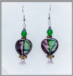 Glass heart in purple and green earrings