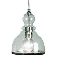 Home Decorators Collection 1-Light Polished Nickel Ceiling Bell Pendant with Clear Glass Shade-25418-32 - The Home Depot