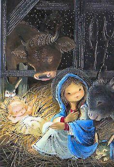 Christmas Manger, Beautiful Christmas, Kids Christmas, Vintage Christmas Images, Christmas Pictures, Beautiful Prayers, Jesus Pictures, Sacred Art, Christmas Printables