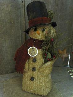 "Primitive Folkart Chenille Snowman Handmade Christmas Holiday Winter 12""H Cute! #NaivePrimitive #Seller"