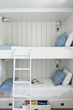 Like this white shiplap look for the bunk rooms; but would prefer stairs to ladders depending on the room's shape. Would love to have single top bunks & double bottom bunks Bunk Beds Small Room, Adult Bunk Beds, Double Bunk Beds, Bunk Beds Built In, Metal Bunk Beds, Modern Bunk Beds, Bunk Rooms, Bunk Beds With Stairs, Cool Bunk Beds