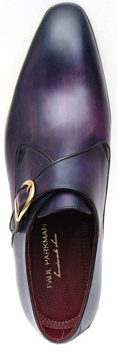 PAUL PARKMAN SINGLE MONKSTRAP SHOES PURPLE HANDPAINTED LEATHER UPPER WITH LEATHER SOLE  Website : www.paulparkman.com