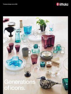 IIttala 2012 catalogue for iittala. Finnish contemporary glassware and tableware and stunning glass birds by Oiva Toikka