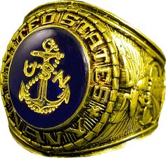 Around the face of the stone are the words United States Navy. The Navy insignia is etched in gold. Gold Navy Ring w/ Gold Logo Etched into Crystal, Style # 10