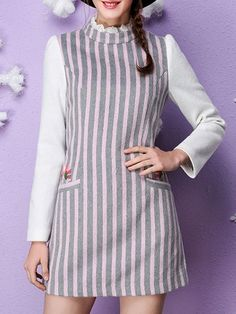 Embroidery Stripe Wool blend Mini Dress