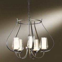 Hubbardton Forge Flora 5 Light Shaded Chandelier Glass Type: Seeded Clear Glass, Finish: Natural Iron