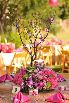 Reception, Flowers & Decor, pink, Centerpieces, Centerpiece, Orchids, Fuschia