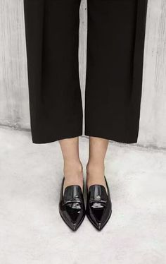 ead8c03ee1c Comfortable and chic look for Paris - wide trousers and patent black loafers …