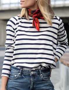 "THE NECK SCARF  Don't dismiss this ""ladies who lunch"" staple as stodgy. When paired with more casual tops like a striped shirt or crew neck sweater, it adds just the right amount of polish."