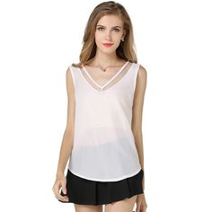 >> Click to Buy << Summer Women Chiffon Blouses Tank Tops Black White Sexy V Neck Transparent Mesh Patchwork Vest Sleeveless Shirts Female Clothing #Affiliate