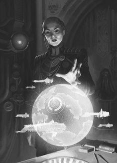 Niora Su-Kassen illustration by Misha Savier Character Design Tips, Character Concept, Character Art, Concept Art, Warhammer 40k Art, Warhammer Fantasy, Battlefleet Gothic, Futuristic Art, Science Fiction Art