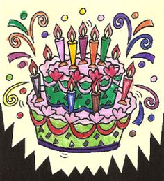 """Kleurplaat """"Verjaardagstaart"""" (6 jaar)"""