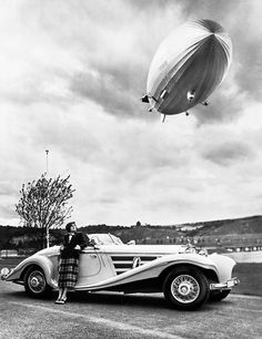 "unclescontractkillers: "" 1936 - Advertising for Mercedes Roadster with Zeppelin Hindenburg """