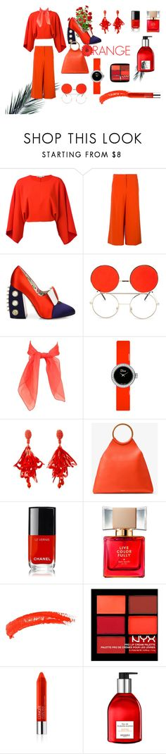 """Orange"" by ruthclaramanroe on Polyvore featuring STELLA McCARTNEY, Boutique Moschino, Gucci, Forever 21, Christian Dior, Oscar de la Renta, Michael Kors, Chanel, Kate Spade and Topshop"