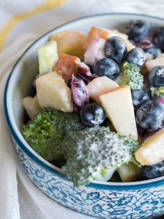 No Mayo Broccoli And Blueberry Salad – 12 Tomatoes Healthy Salad Recipes, Veggie Recipes, Cooking Recipes, Diabetic Recipes, Blueberry Salad, Appetizer Salads, Broccoli Salad, Apple Recipes, Food Menu