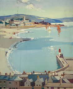 """huariqueje: """" Penzance in the Duchy of Cornwall * - Leonard Richmond British, 1889 - 1965 Oil on canvas, x 63 cm * Great Western Railway """" Railway Posters, Travel Posters, Penzance Cornwall, St Michael's Mount, Seaside Art, National Railway Museum, Island Nations, Great Western, Science Museum"""