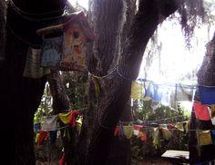 the shrine and prayer flags