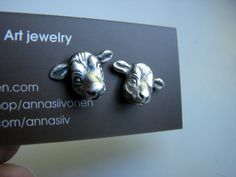 Silver cow head earrings with hypoallergenic titanium or niobium wire