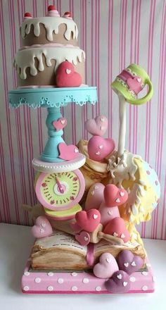 Serious dowelling in this cake! 'Baked with love' cake Gorgeous Cakes, Pretty Cakes, Cute Cakes, Amazing Cakes, Crazy Cakes, Fancy Cakes, Pink Cakes, Gravity Defying Cake, Gravity Cake