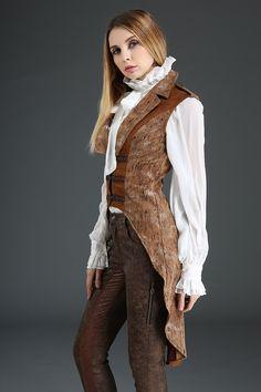 Pentagramme Ladies Steampunk Waistcoat, Sleeveless Tailcoat Jacket