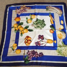 """Loewe** Vintage Homenaje A Sanchez Cotán Scarf Vintage 1995 silk Scarf. Purchased in Madrid. Measures 34""""x34"""". Beautiful design and fabric. Very Good condition but has a ring stain' shown on photo #2.  Sorry, no Trades Loewe Accessories Scarves & Wraps"""