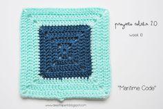 """De Estraperlo: Proyecto Colcha 2.0, """"Maritime Code"""" - free crochet square pattern in English or Spanish."""