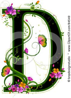 Black Capital Letter D Outlined In Green, With Colorful Flowers And Butterflies Posters, Art Prints by - Interior Wall Decor Hand Made Greeting Cards, Making Greeting Cards, Monogram Letters, Letters And Numbers, Illuminated Letters, Sketch Design, Letter Art, Colorful Flowers, All Art
