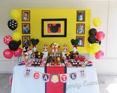 Mickey Mouse birthday party dessert table! See more party planning ideas at CatchMyParty.com!